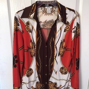 Cache western themed blouse